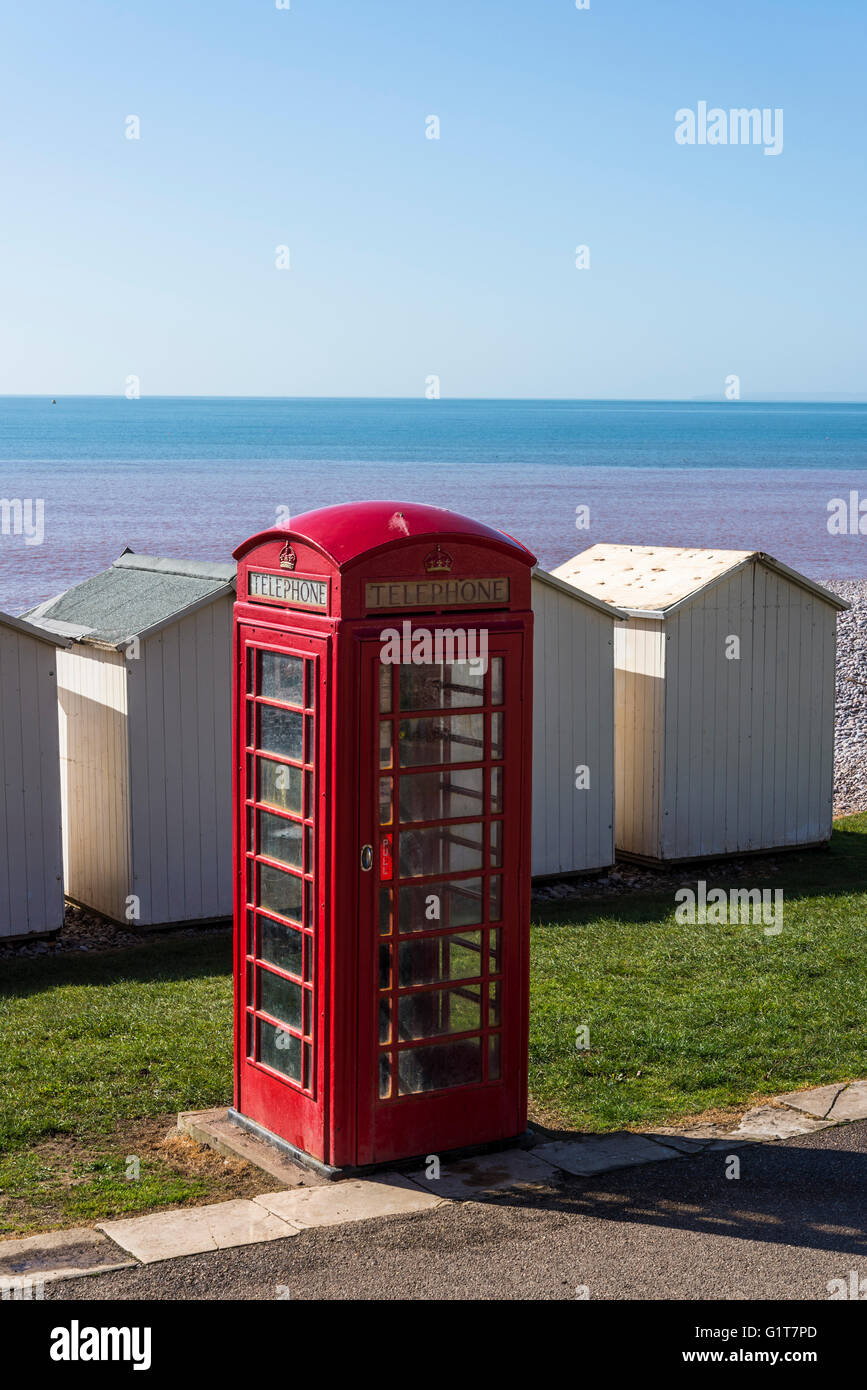 Red telephone box, Budleigh Salterton beach, East Devon, England, United Kingdom - Stock Image