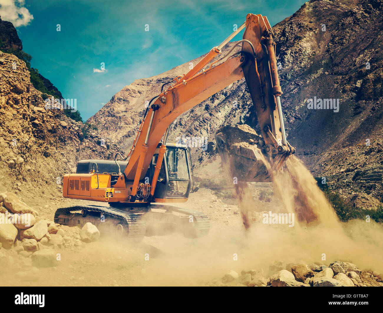 Road construction in Himalayas - Stock Image