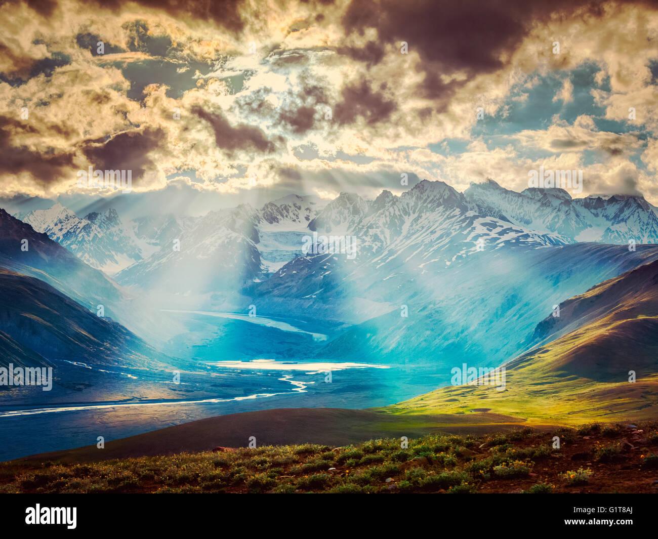 HImalayan landscape with Himalayas mountains - Stock Image