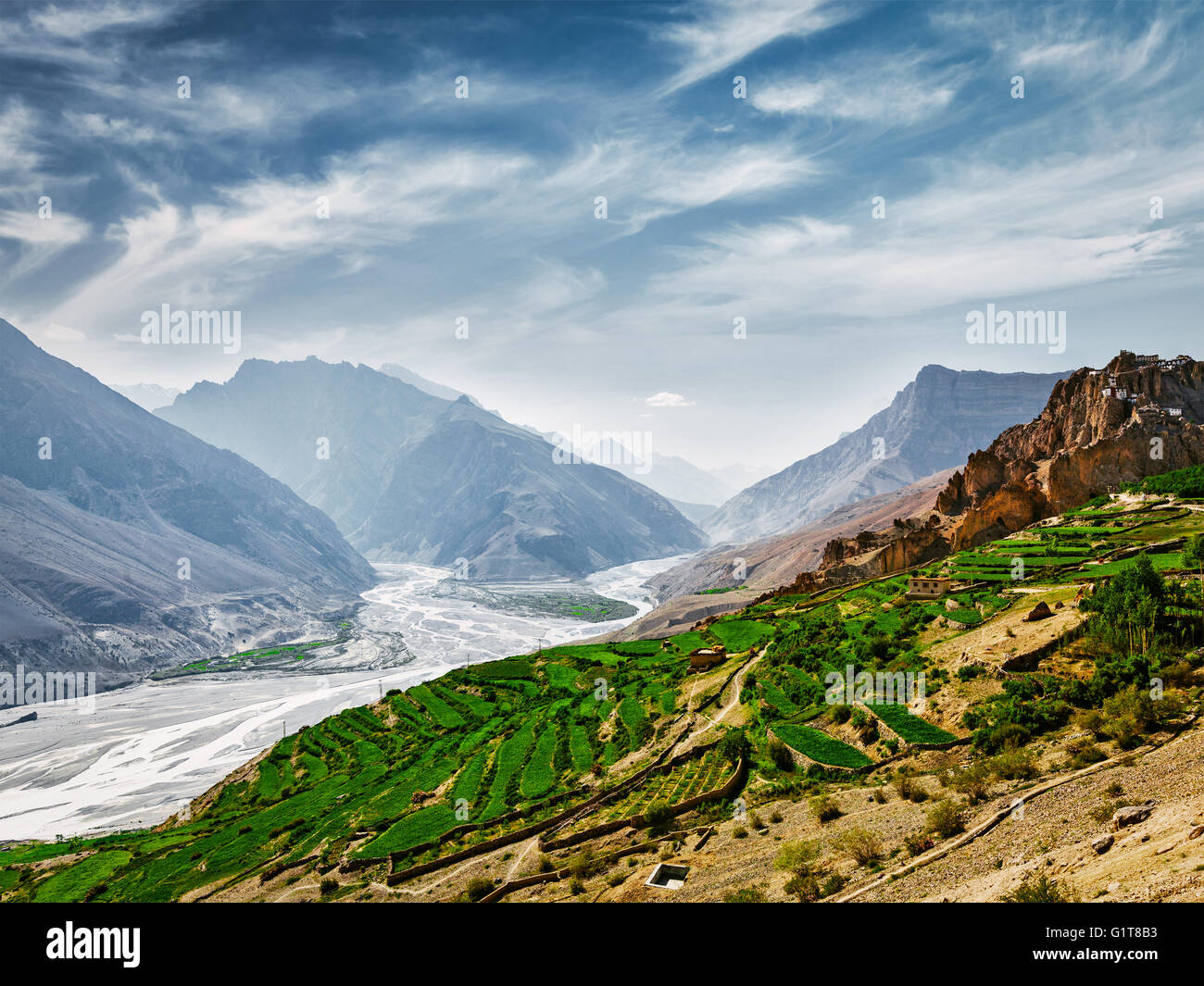 Spiti valley and river in Himalayas - Stock Image