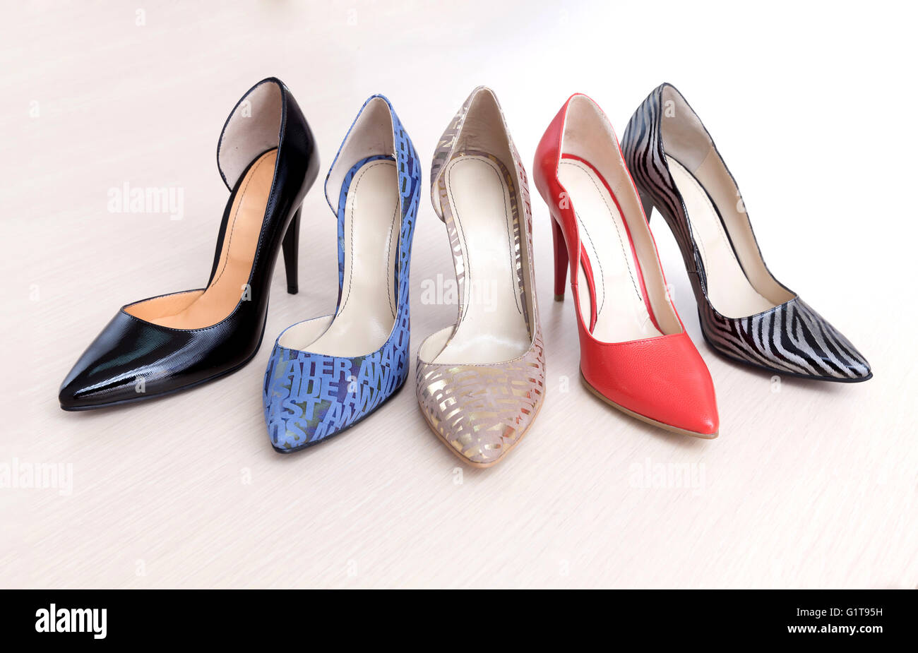 Many different shoes ready for summer sales. - Stock Image
