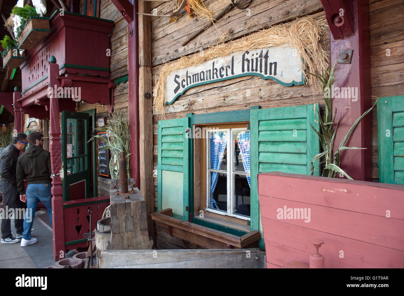 """Beer hall bar. Berliner Octoberfest in Berlin, is similar to its """"big brother in Munich"""" running in September and Stock Photo"""