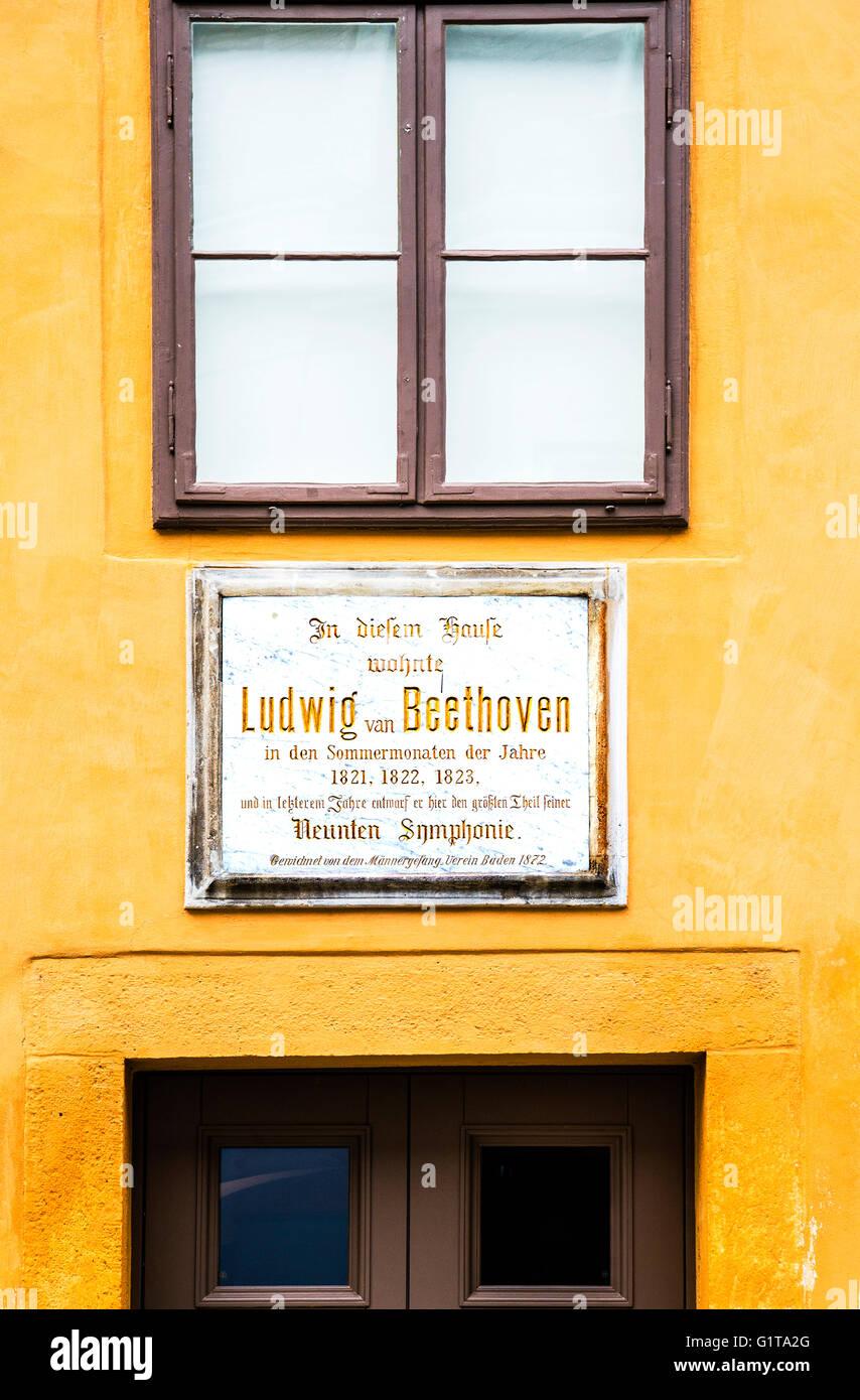 Baden near Vienna, Austria, where the composer Beethoven lived; Beethovenhaus in Baden bei Wien, Österreich - Stock Image