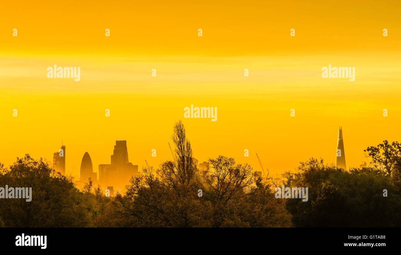Stunning orange and yellow sunrise over the London skyline from Hampstead Heath, London, UK. - Stock Image