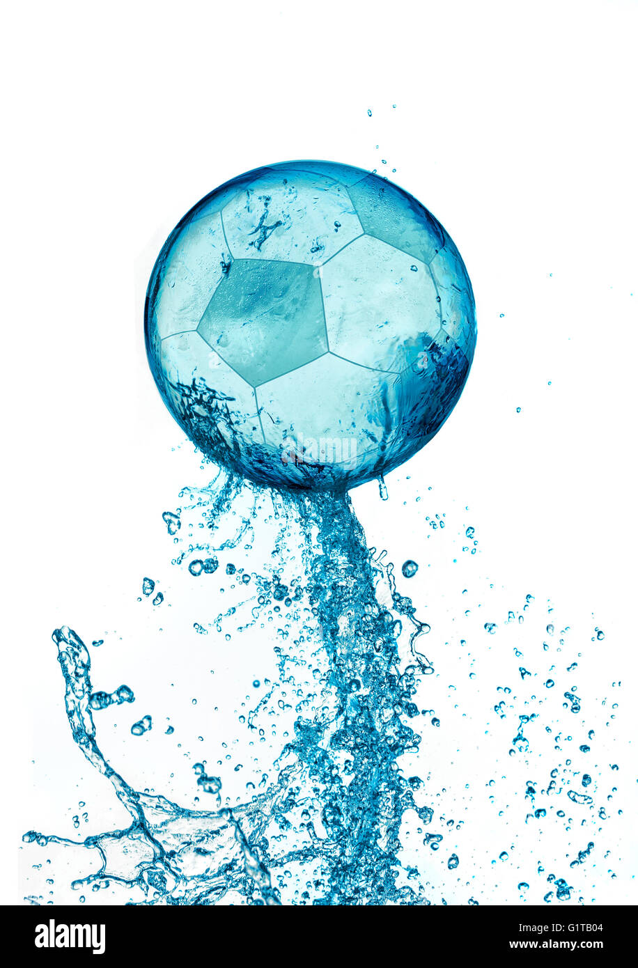 Abstract Water Soccer Ball Splash Isolated On White