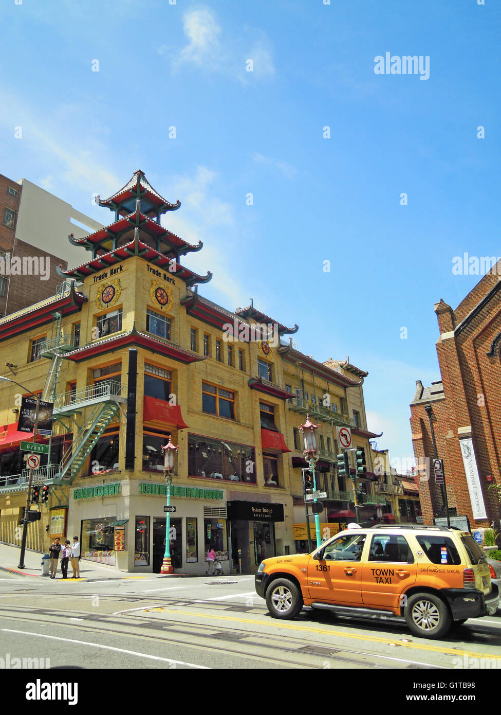 san francisco skyline with the oriental buildings of chinatown the