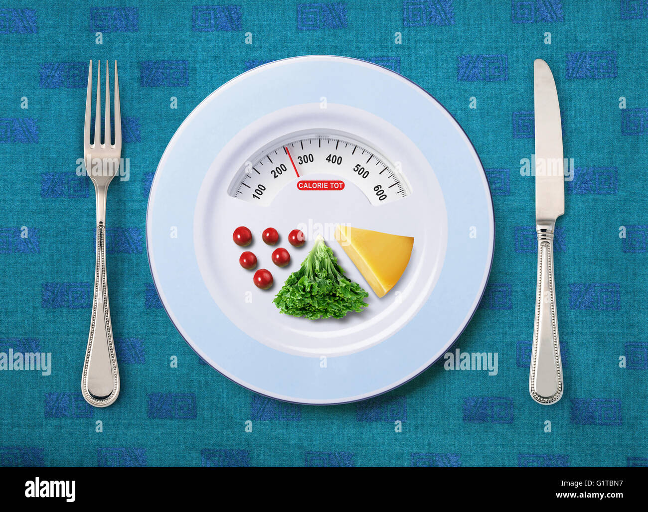view of calorie tot in food that on white plate - Stock Image