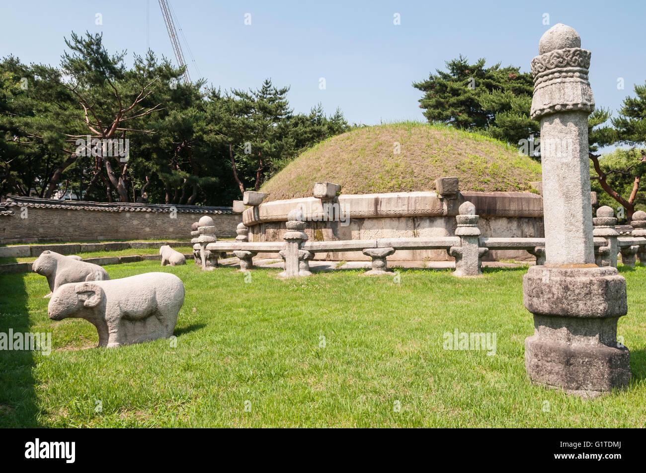 Tomb of King Sejong the Great, Royal Tombs of the Joseon Dynasty, 1392-1910,  Seolleung Park, Seoul, South Korea;