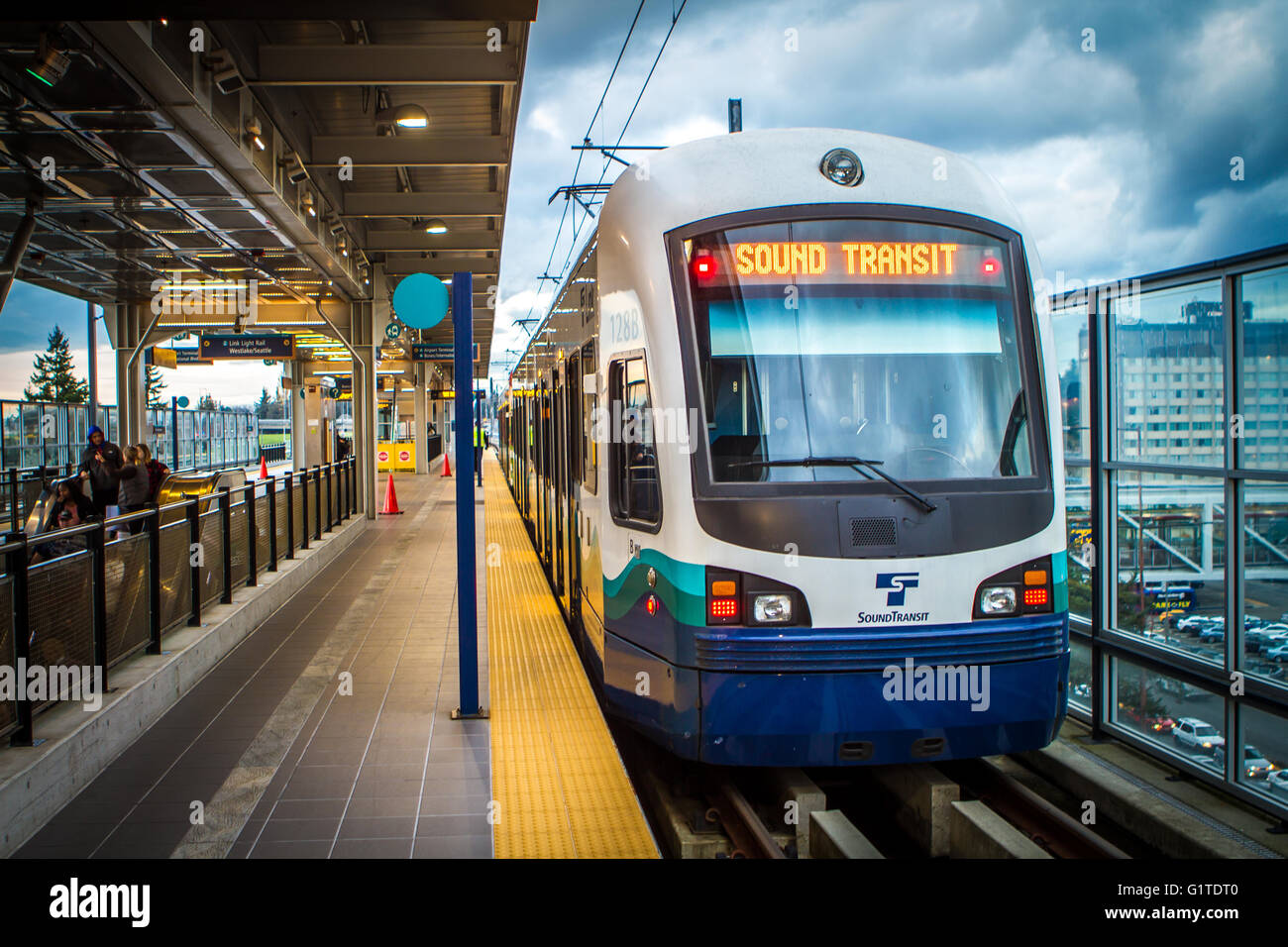 A Sound Transit Link light rail train at the SeaTac/Airport