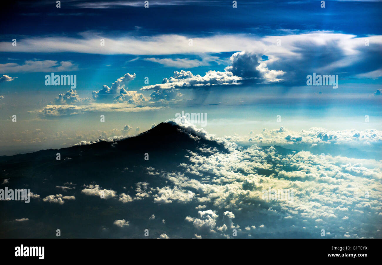 Aerial view of the volcanoes in Central Java. - Stock Image