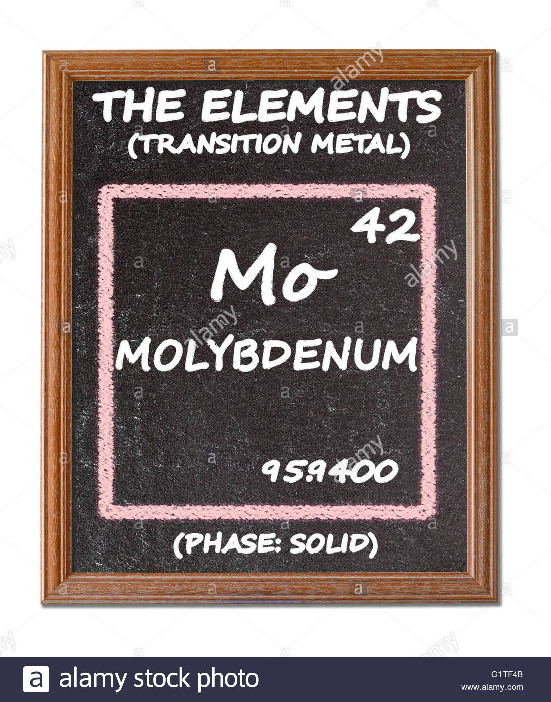 Molybdenum  - details from the periodic table - Stock Image