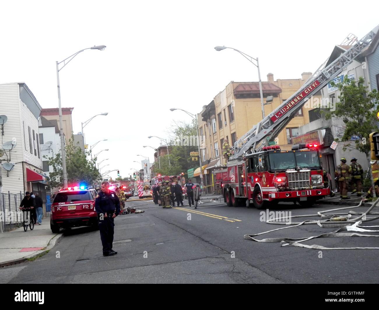 Jersey City  N J  USA  18th May 2016  -3 alarm fire breaks