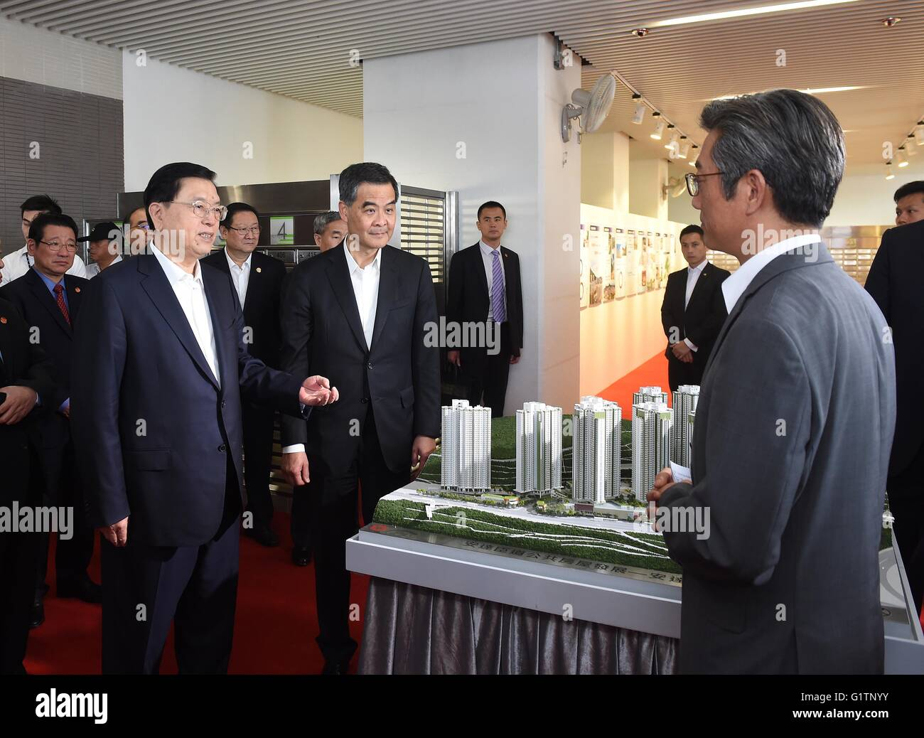 Hong Kong, China. 19th May, 2016. Zhang Dejiang (1st L, front), chairman of the Standing Committee of China's National Stock Photo
