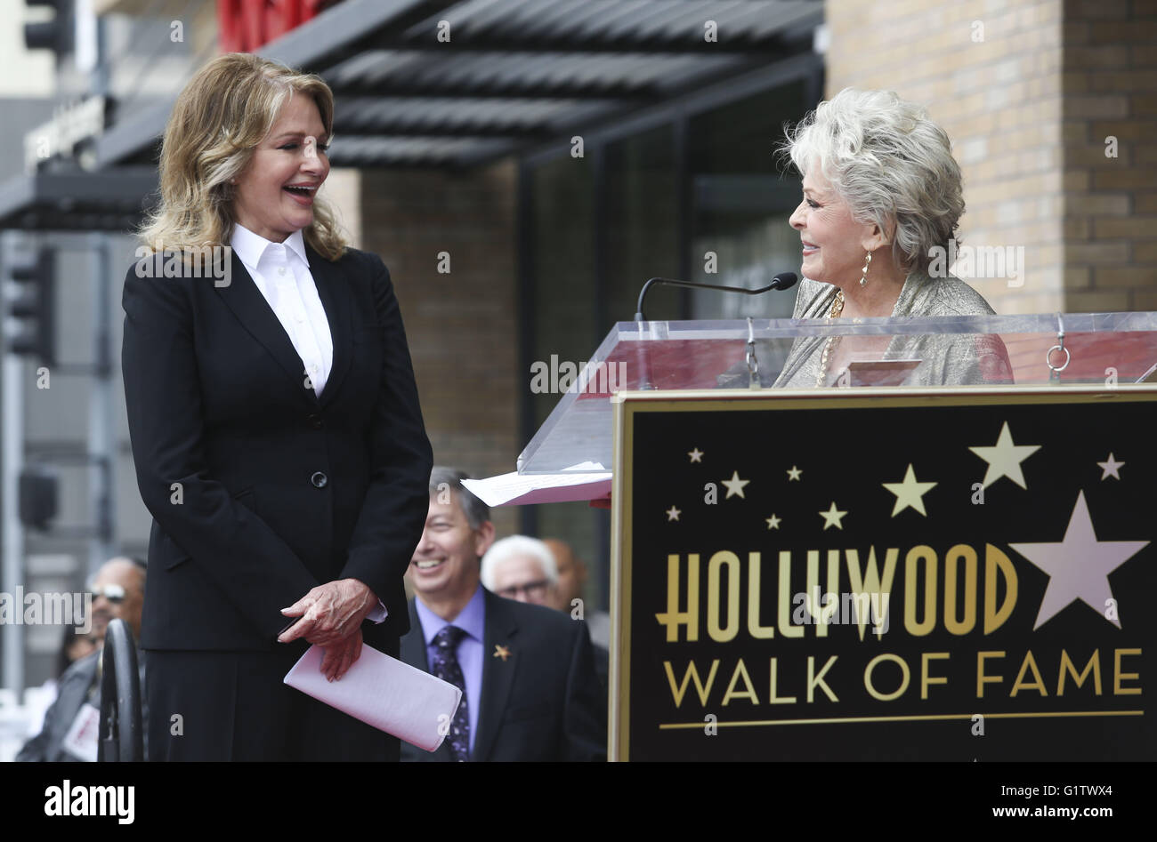 Los Angeles, California, USA. 19th May, 2016. Susan Seaforth Hayes, right, introduces actress Deidre Hall in a ceremony - Stock Image