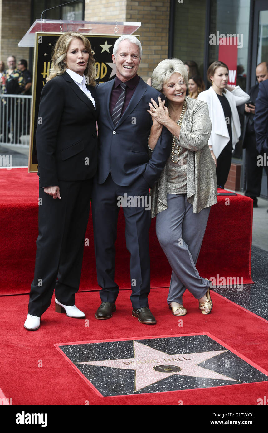 Los Angeles, California, USA. 19th May, 2016. Actresses Deidre Hall (L), Susan Seaforth Hayes, (R) and producer - Stock Image