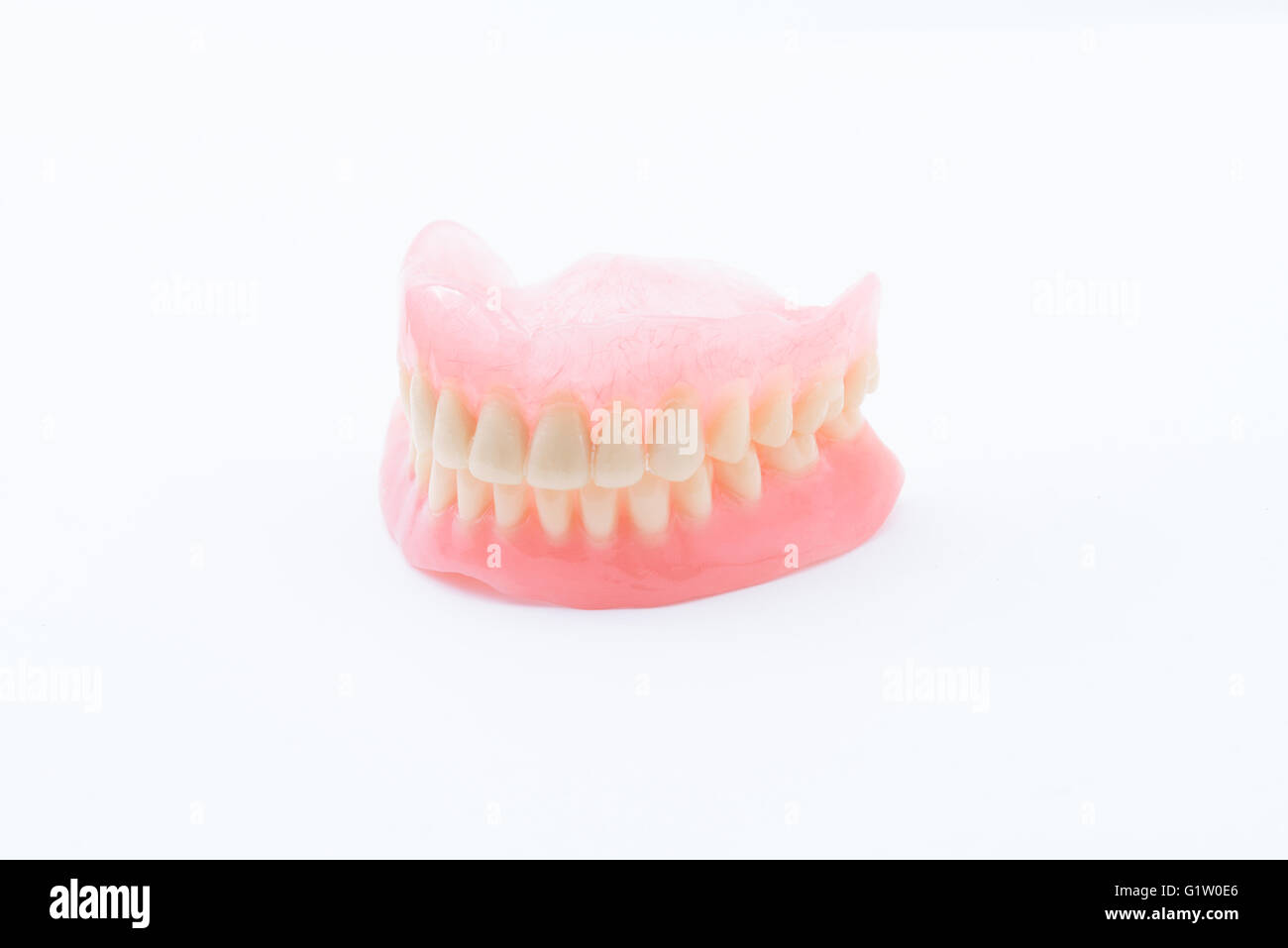Full Denture on white background - Stock Image
