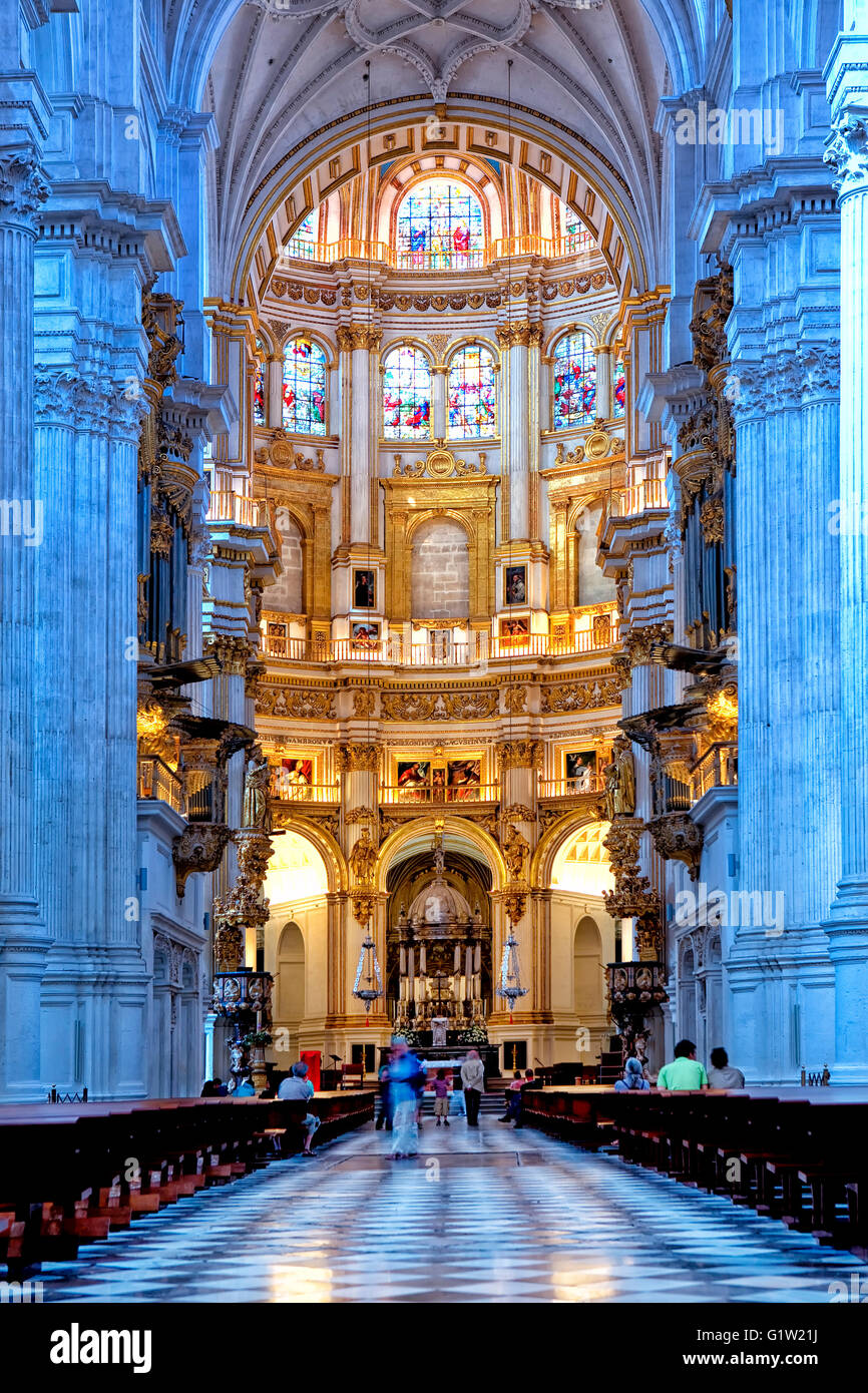 Interior of the cathedral of Granada - Stock Image