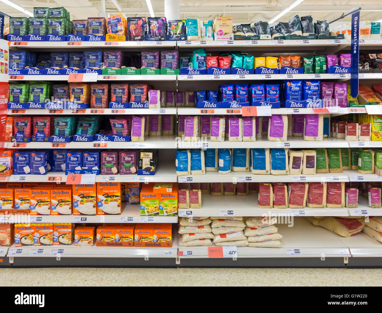 rice for sale on a sainsbury supermarket shelf uk stock photo 104427288 alamy. Black Bedroom Furniture Sets. Home Design Ideas