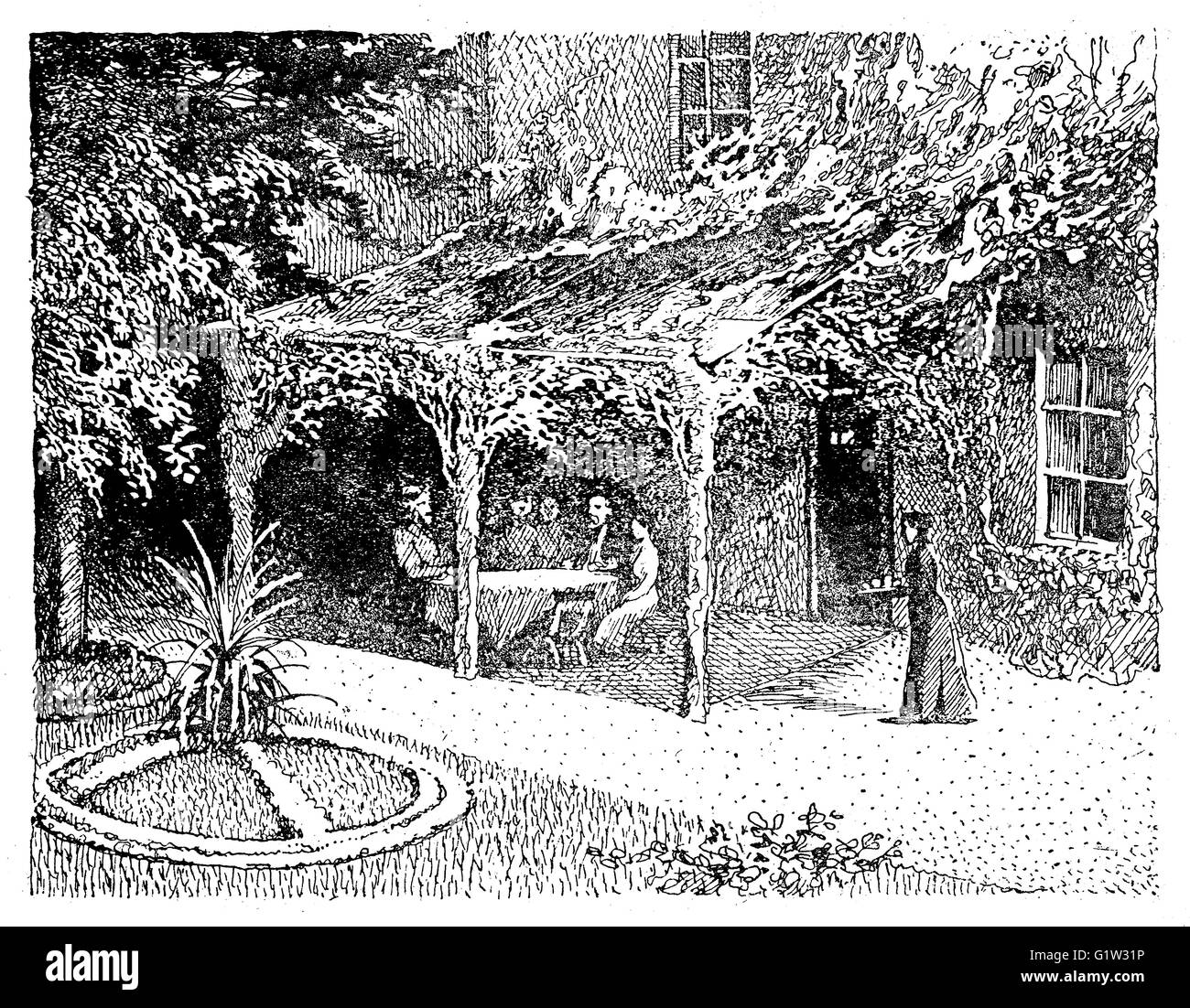 Vintage illustration: people sitting under a pergola in the shade with the view of the beautiful garden surrounding - Stock Image