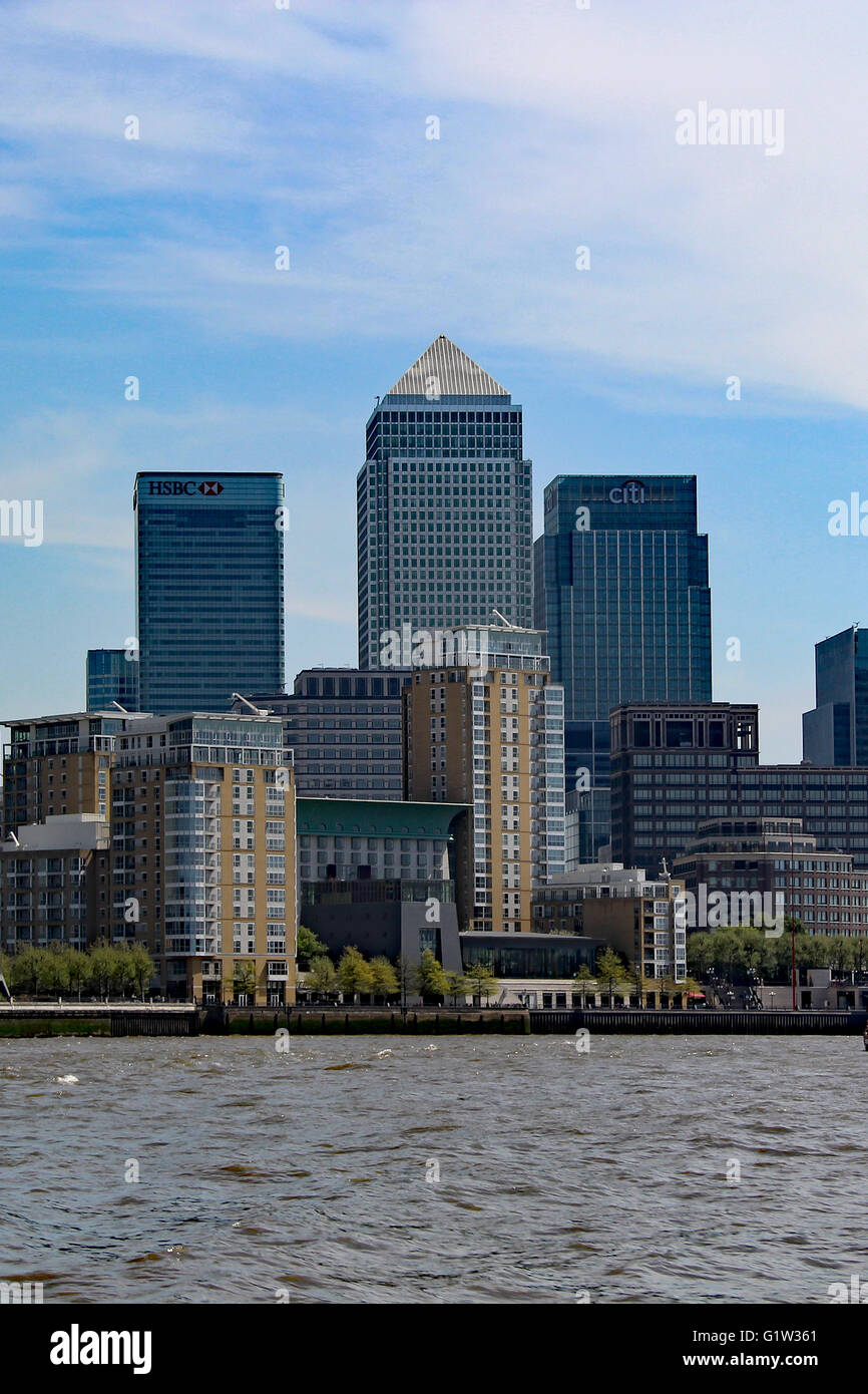 London Docklands London Skyline River Thames CITI BANK HSBC Canary Wharf - Stock Image