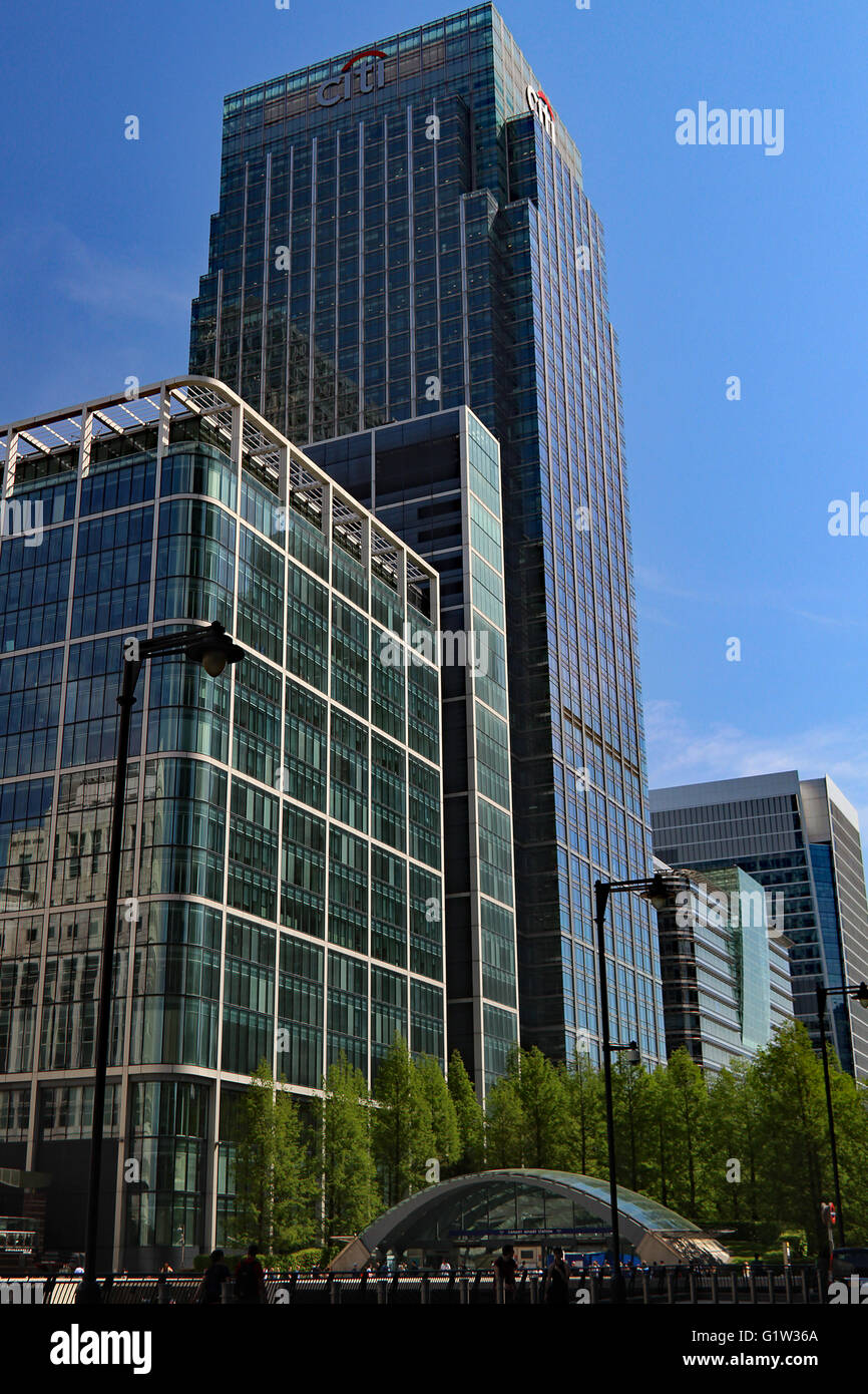 Canary Wharf Station London Citi Bank Offices London Skyline Canary Wharf - Stock Image