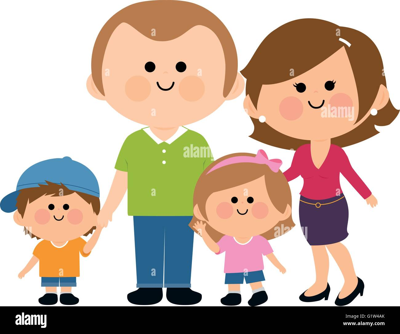 A happy family: Two parents and their children, a girl and a boy. - Stock Vector