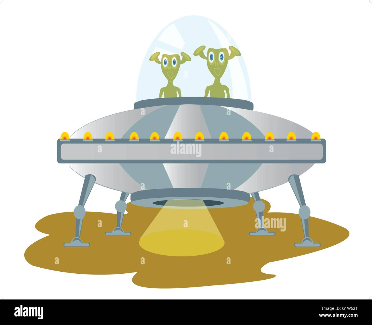 Illustration of the spaceship with stranger on white background - Stock Vector