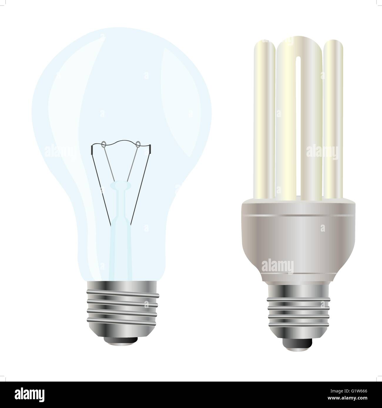 Electric light bulbs on white background - Stock Image