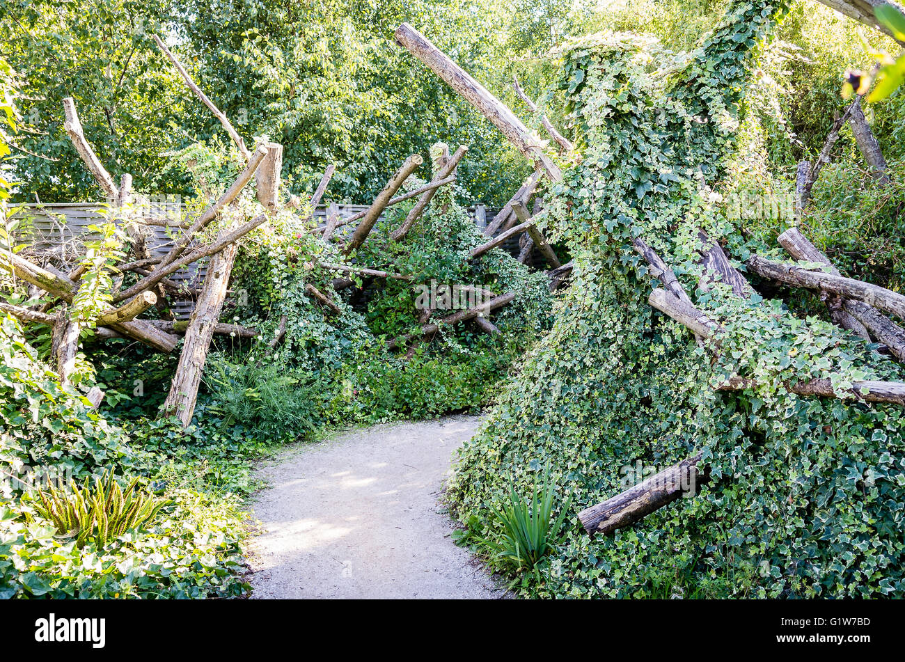 Path through an unusual garden based on old material clothed with natural ivy - Stock Image