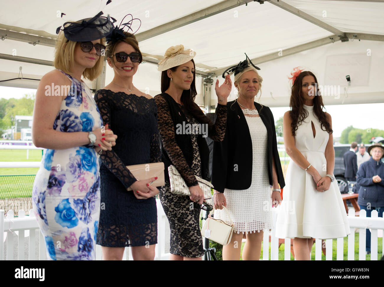 Women in best dressed lady competition at Warwick Races, UK - Stock Image