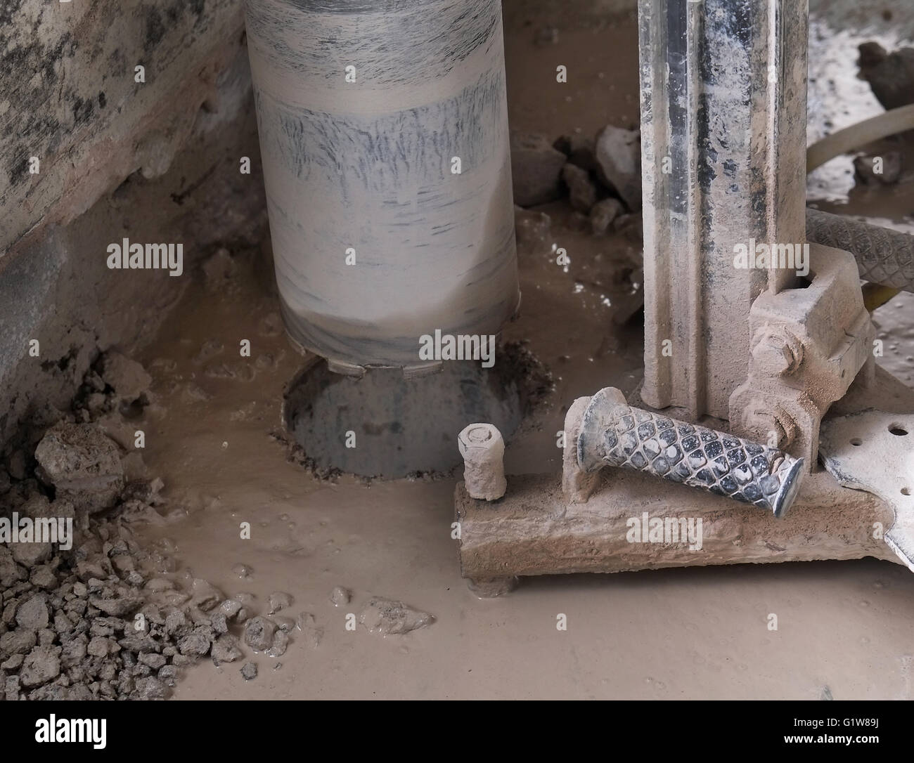 Large drill used for boring holes in concrete structures, similar to those used in recent large robberies. 1st May Stock Photo