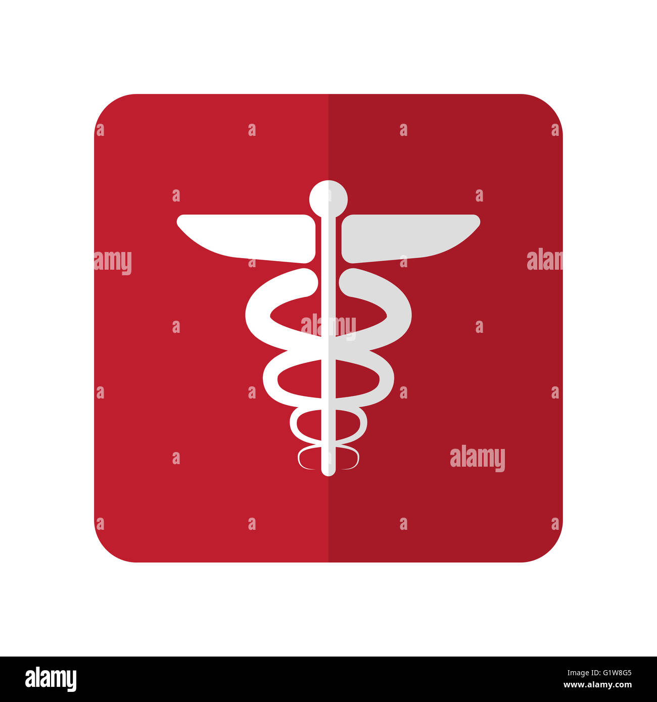 White Medical Symbol Flat Icon On Red Rounded Square On White Stock