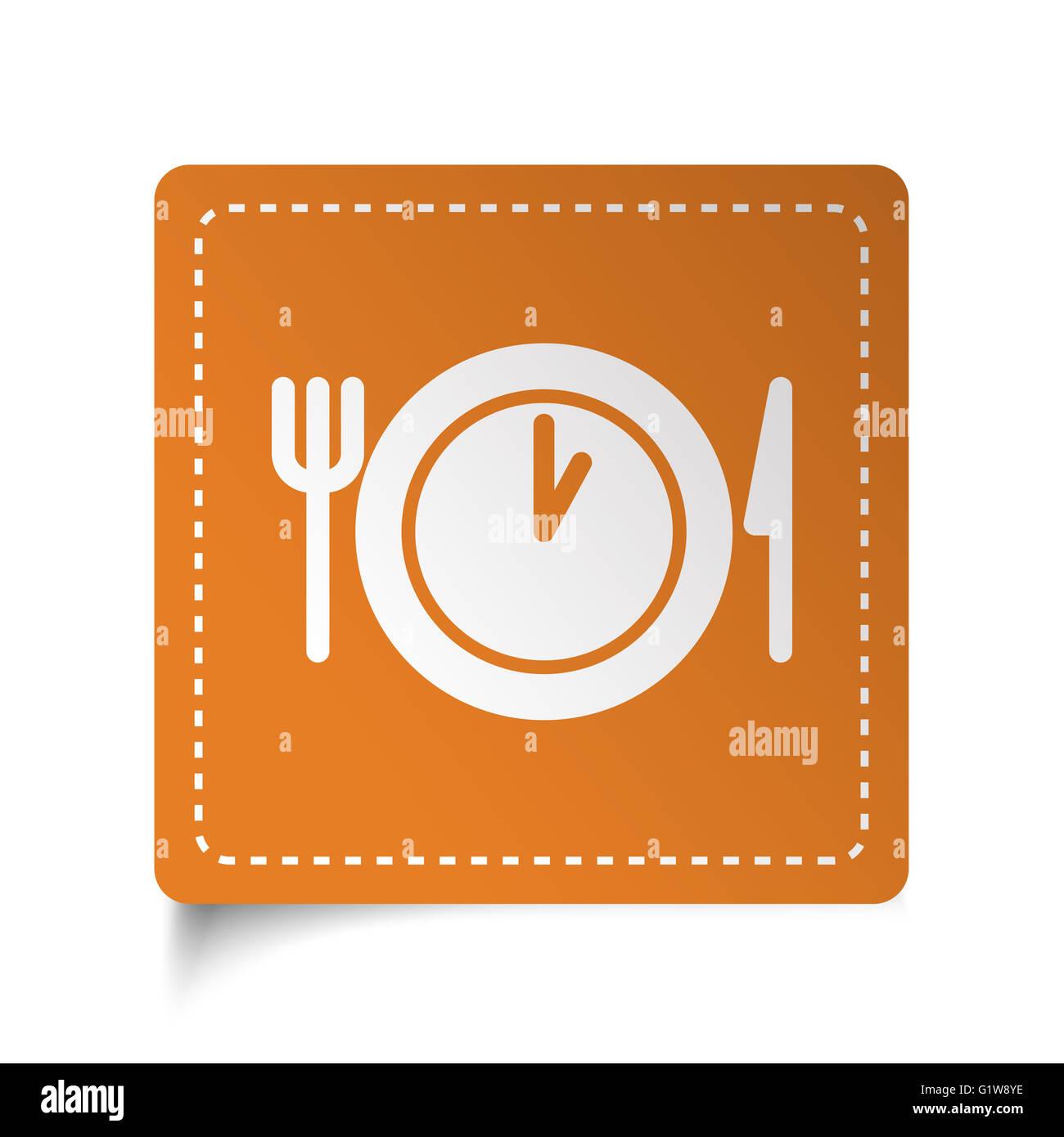 White Flat Lunch Time Icon On Orange Sticker