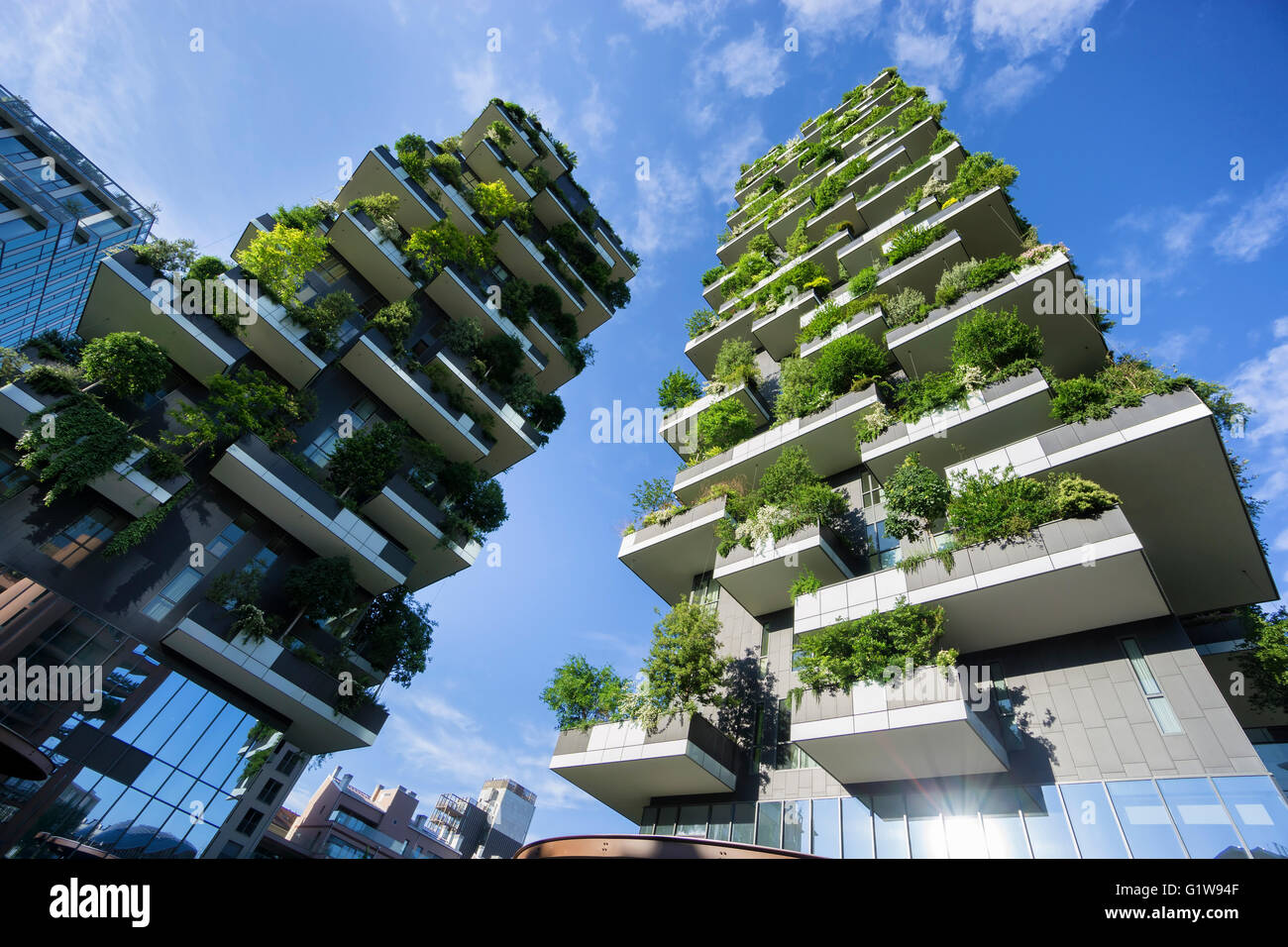 MILAN, ITALY - MAY 15, 2016: Bosco Verticale (Vertical Forest) low view. Designed by Stefano Boeri, sustainable - Stock Image