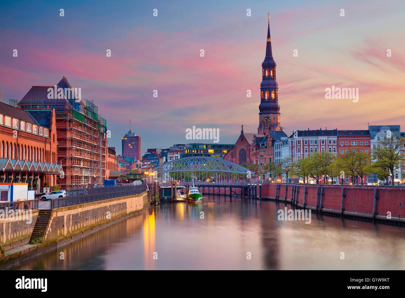 Hamburg. Image of Hamburg- Speicherstadt during beautiful sunset. Stock Photo