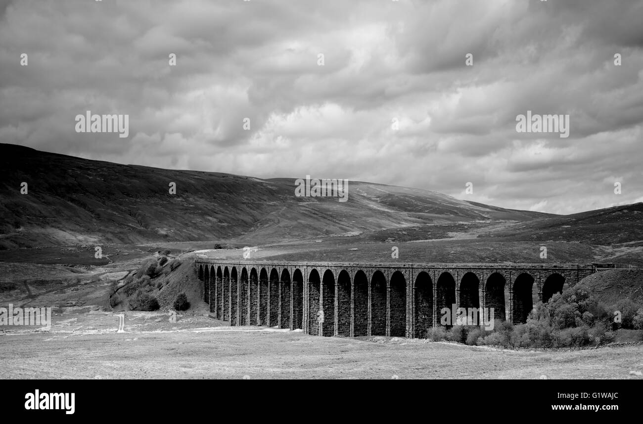 Scenic view of Ribblehead Viaduct and moorland, B & W - Stock Image
