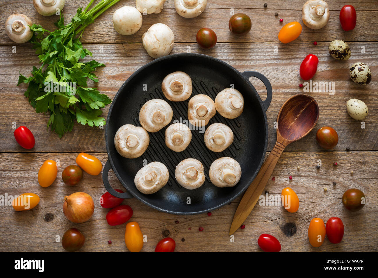 Food background: healthy food ingredients for cooking on rustic wooden table, top vlew - Stock Image