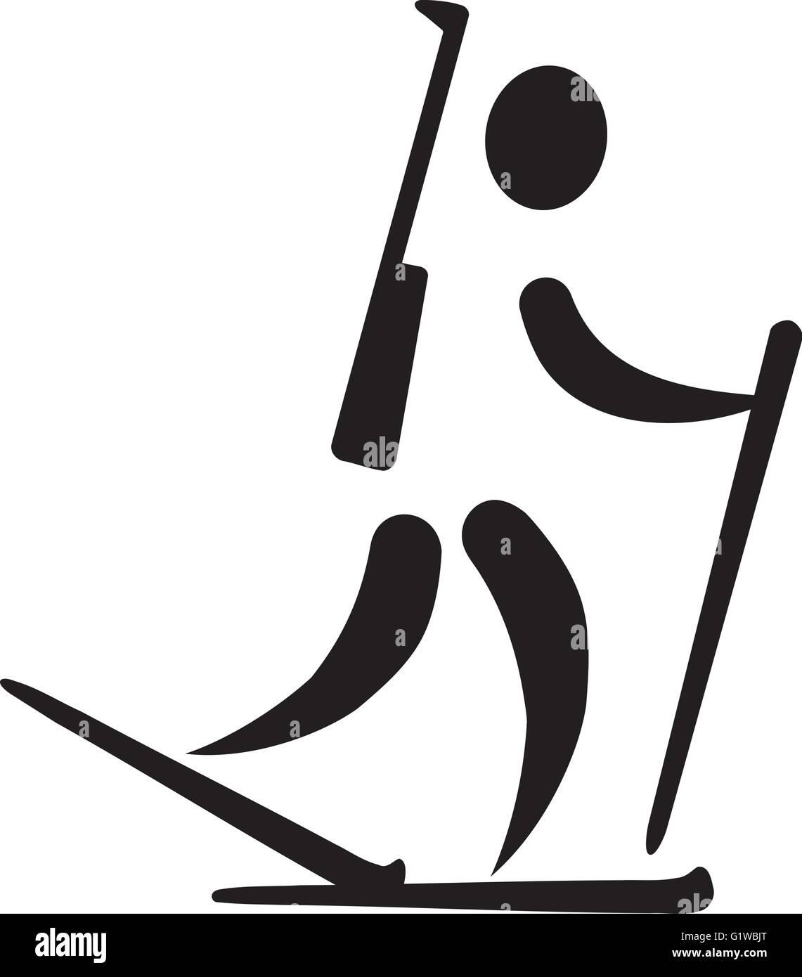 Biathlon Runnin Pictogram - Stock Vector