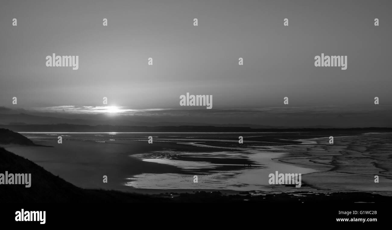 Beautiful Bamburgh Black and White at Sunset - Stock Image