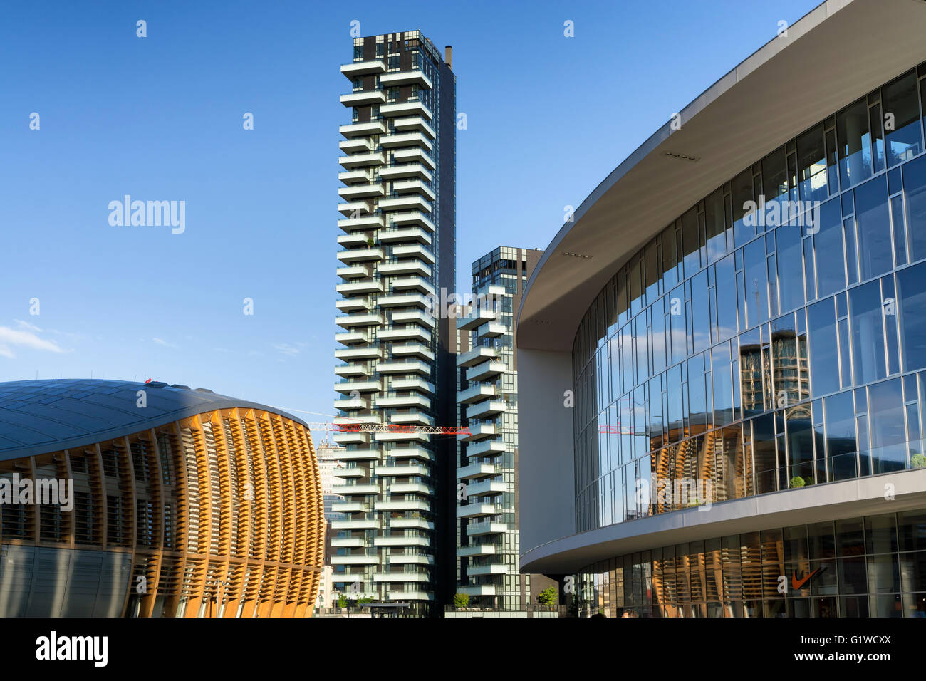 MILAN, ITALY - MAY 15, 2016: new Porta Nuova district skyscraper and commercial buildings from Gae Aulenti's - Stock Image