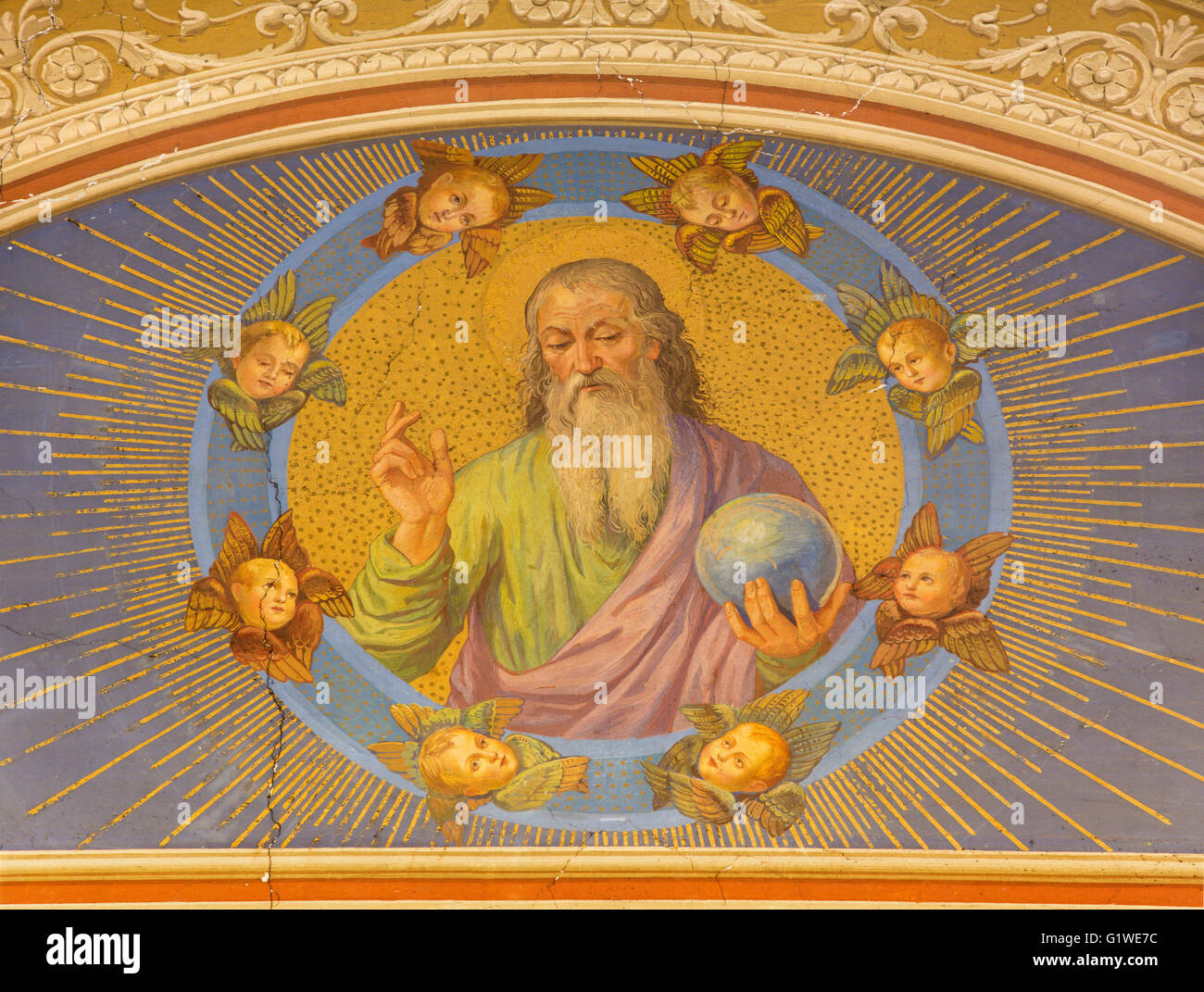 ROME, ITALY - MARCH 12, 2016: The fresco God the Creator by unknown artist from end of 19. cent. - Stock Image