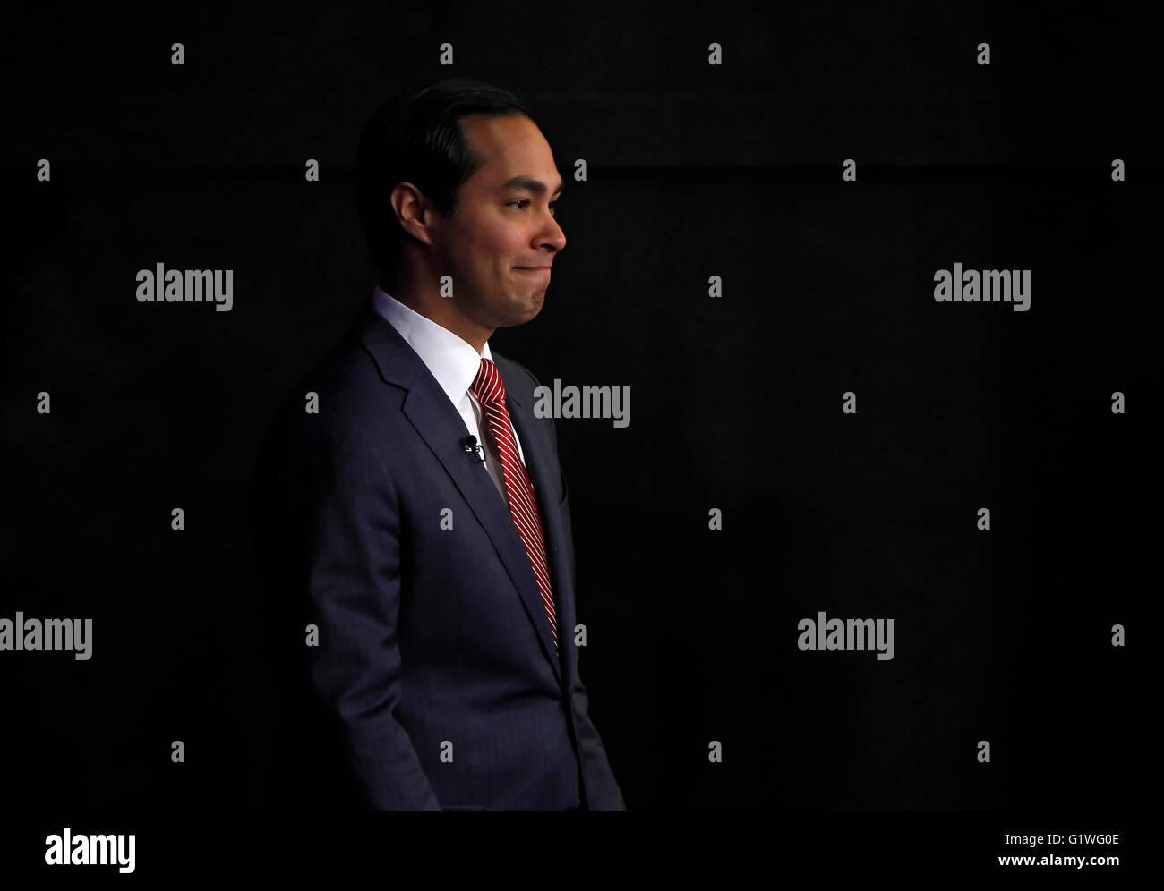 San Antonio Mayor Julian Castro waits backstage before a debate in San Antonio, Texas. Stock Photo