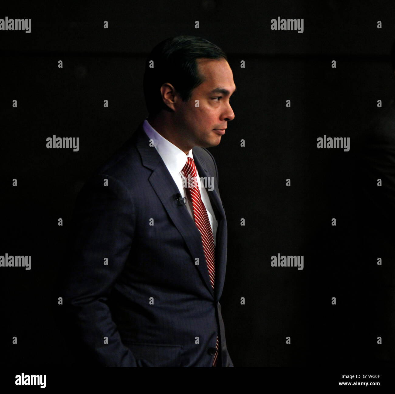San Antonio Mayor Julian Castro waits backstage before a debate in San Antonio, Texas. Stock Photo