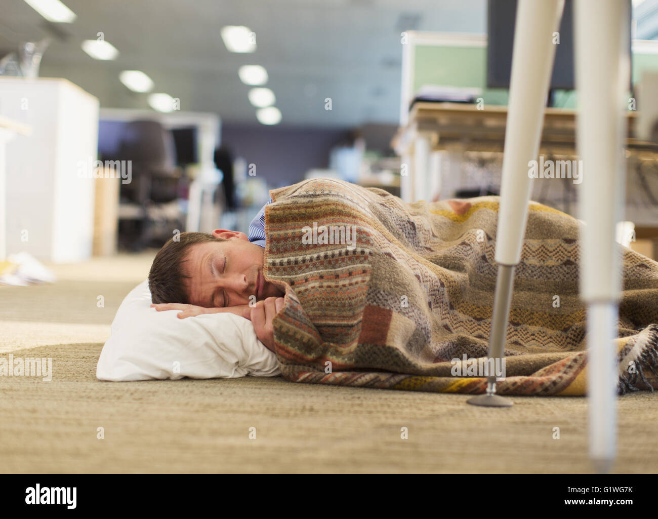 office nap pillow. Businessman With Pillow And Blanket Sleeping On Office Floor Nap S