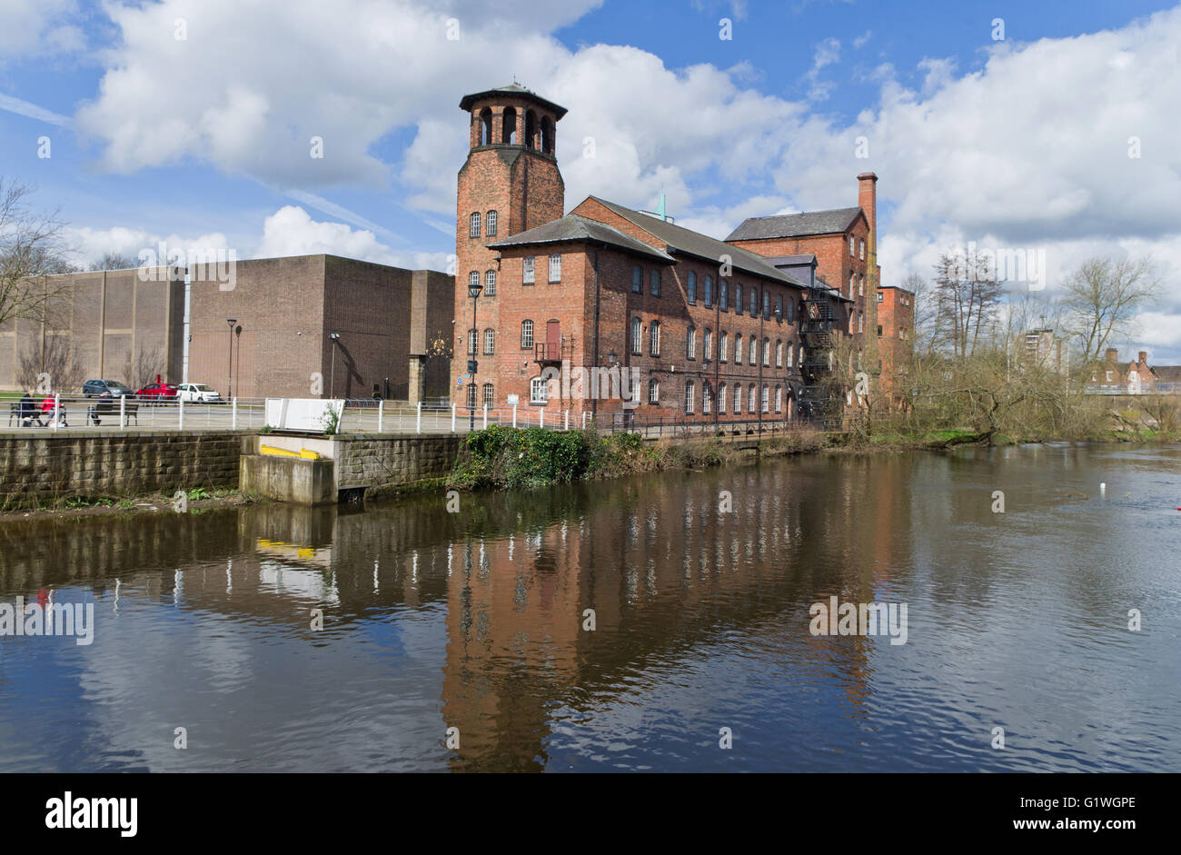 The Silk Mill Museum on the banks of the River Derwent in the city of Derby. - Stock Image