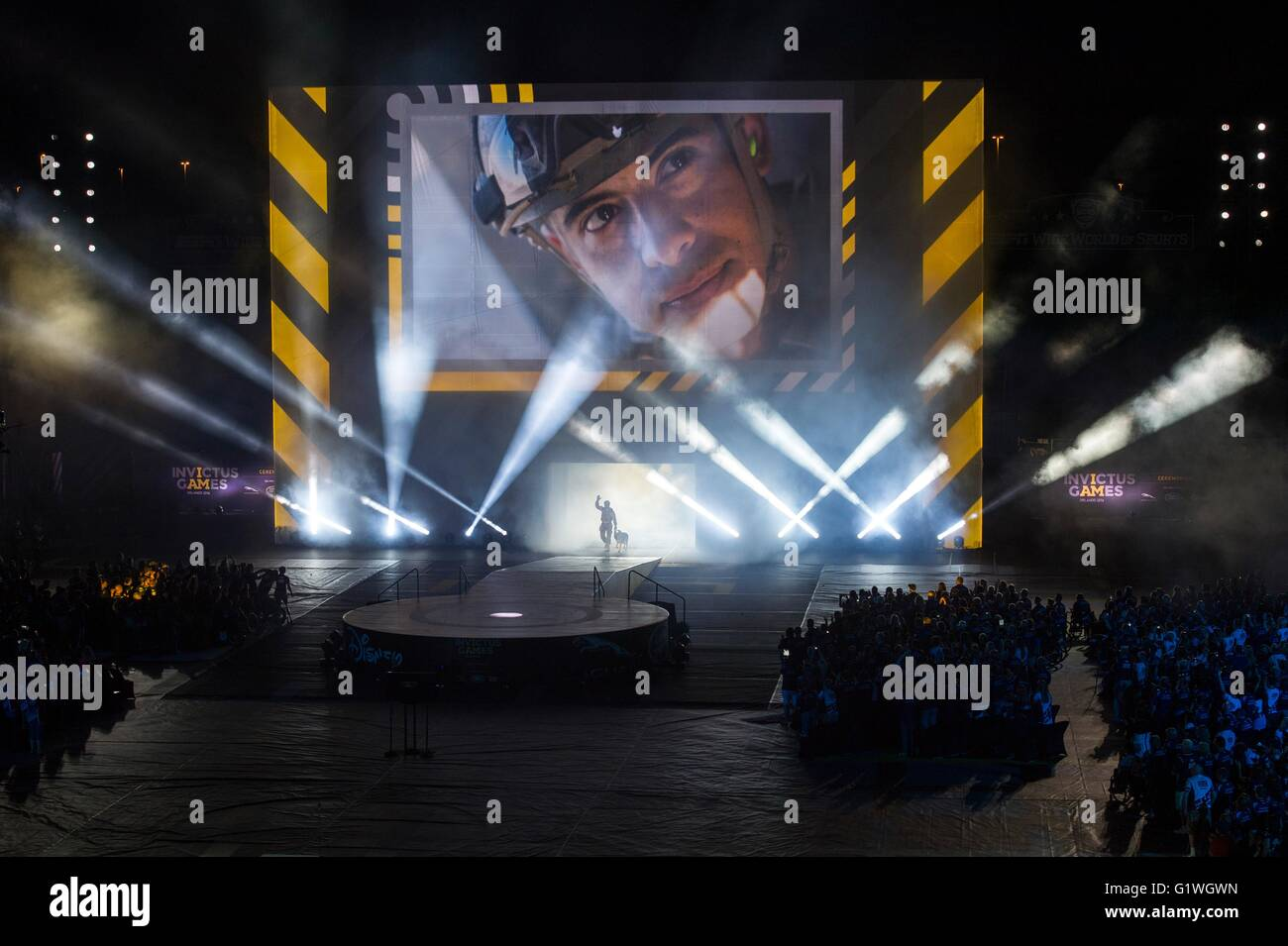 Invictus Games opening ceremonies May 8, 2016 in Orlando, Florida. The Invictus Games are an international Paralympic - Stock Image