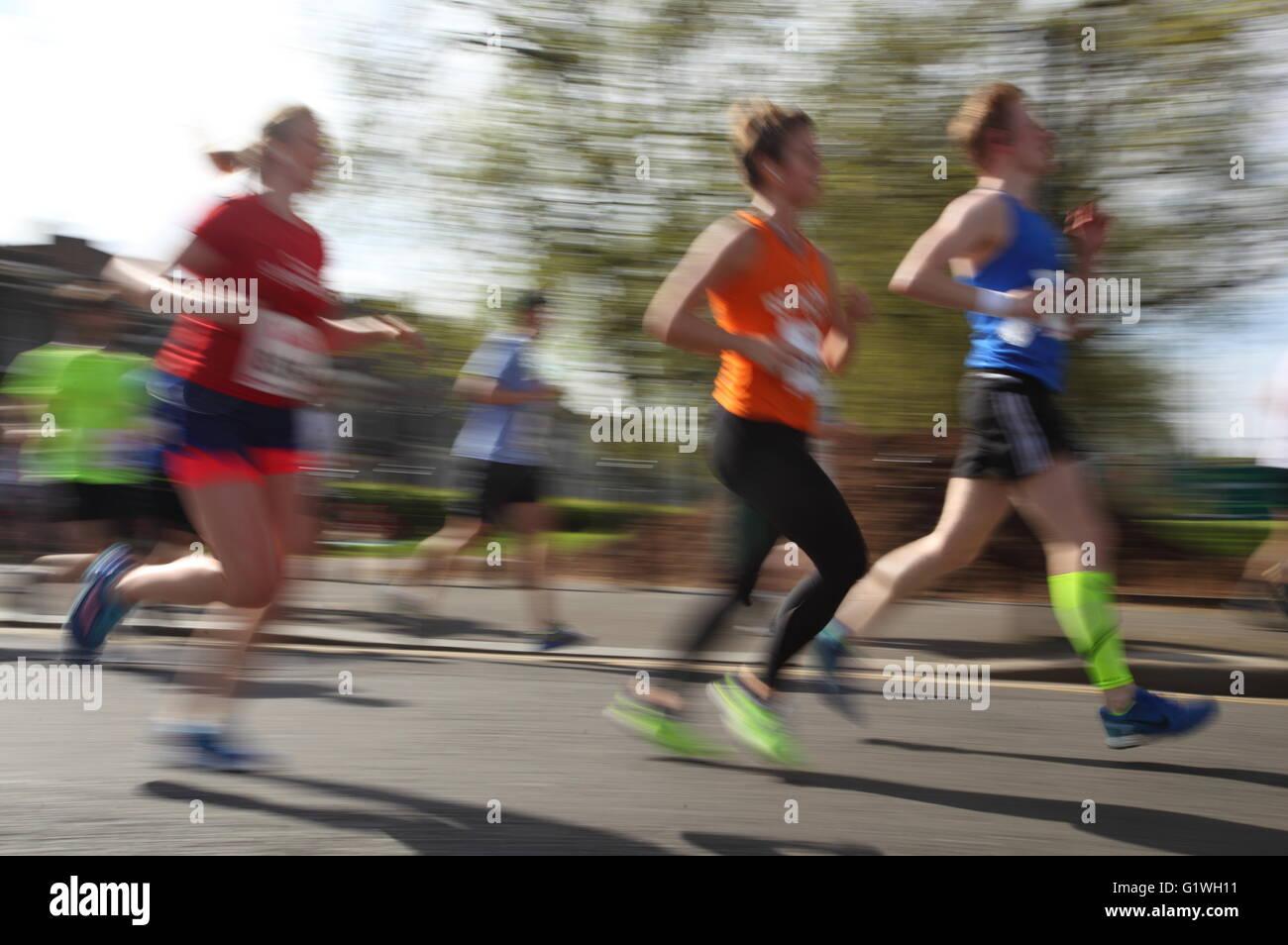 may 2016 London Uk people running at Hackney Run  half marathon - Stock Image