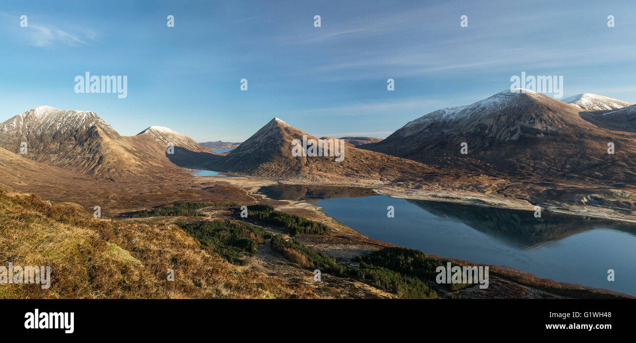 panoramic at loch slapin with red cuillins in winter mountains near torrin - Stock Image