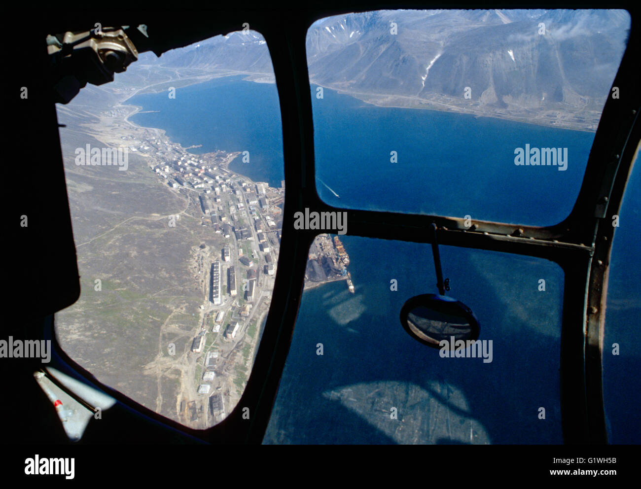Aerial view from chartered Aeroflot helicopter of approach into Provideniya; Siberia; Magadan Region; Russian Federation - Stock Image