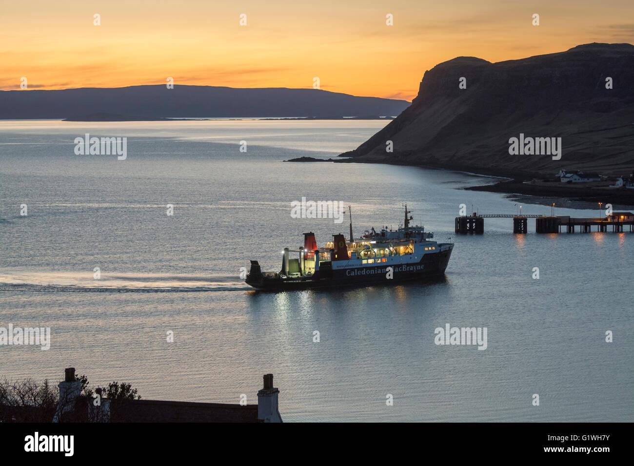 mv hebridean isles approaching uig harbour at sunset, skye - Stock Image